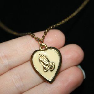 Vintage gold and cream prayer hands heart necklace